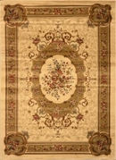 Royalty Framed Floral Area Rug 8x11 (Ivory)