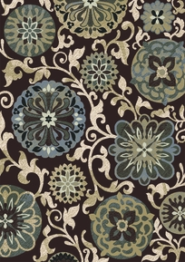 Royalty Funky Floral Area Rug (Black)