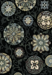 Royalty Funky Floral Area Rug (Brown)