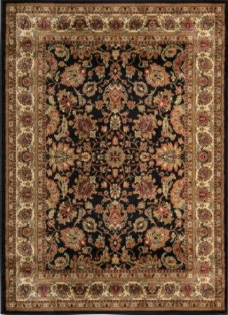 Royalty Traditional Floral Area Rug (Black)