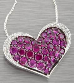 Ruby and Diamond Silver Heart Necklace