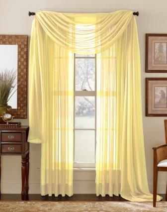 Sheer 3 Piece Window Set (Lemon Yellow)