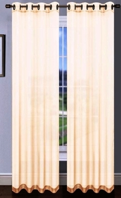 Platinum Sheer Voile Curtain with Grommets (Beige / Ivory)