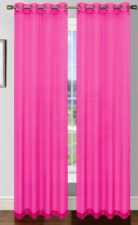 Platinum Sheer Voile Curtain With Grommets Fuschia Pink Moshells
