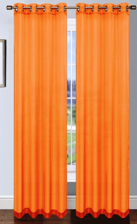 Platinum Sheer Voile Curtain with Grommets (Orange) | Moshells