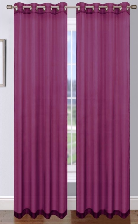 Platinum Sheer Voile Curtain with Grommets (Plum) | Moshells