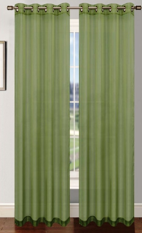 Platinum Sheer Voile Curtain with Grommets (Sage Green) | Moshells