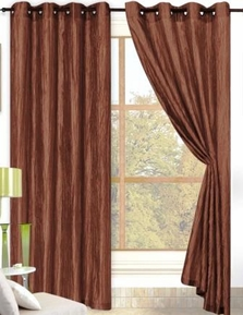 Sherry Crushed Satin Curtain (Chocolate Brown)