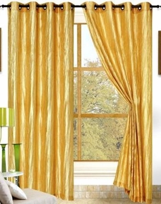 Sherry Crushed Satin Curtain (Gold)