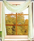 Sherry Crushed Satin Curtain Scarf (Beige)
