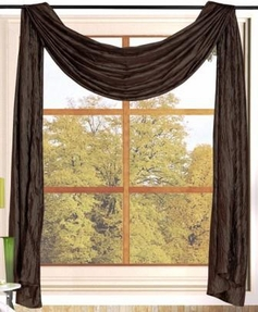 Sherry Crushed Satin Curtain Scarf (Brown)