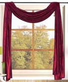 Sherry Crushed Satin Curtain Scarf (Burgundy)