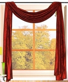 Sherry Crushed Satin Curtain Scarf  - Rust (Terracota)
