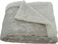 Silver Flowers 50x60 Sherpa Lined Throw (Beige)