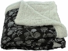Silver Flowers 50x60 Sherpa Lined Throw (Black)