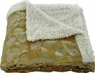 Silver Flowers 50x60 Sherpa Lined Throw (Gold)