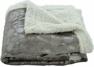 Silver Flowers 50x60 Sherpa Lined Throw (Gray)