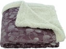 Silver Flowers 50x60 Sherpa Lined Throw (Purple)