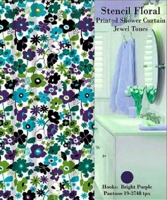 Stencil Floral Shower Curtain Set (Jewel Tone)