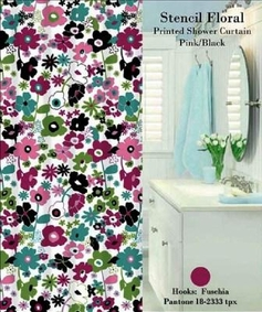 Stencil Floral Shower Curtain Set (Pink)