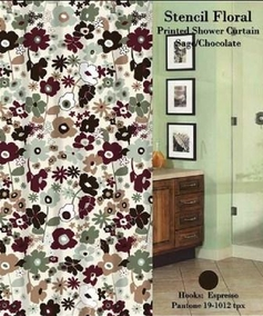 Stencil Floral Shower Curtain Set (Sage)