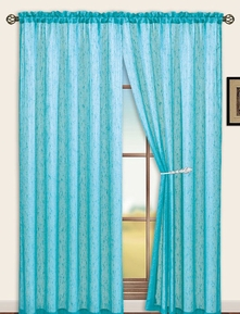 Sterling Rod Pocket Curtain Panel (Aqua Blue)