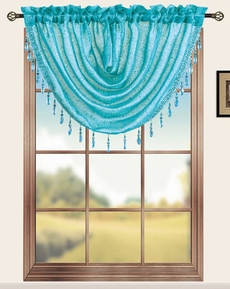 Sterling Rod Pocket Waterfall Valance (Aqua Blue)