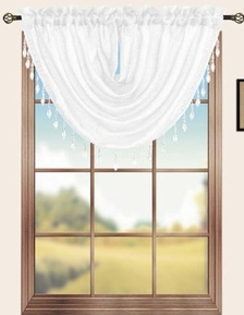 Sterling Rod Pocket Waterfall Valance (White)