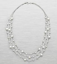 Sterling Silver 3 Strand Fresh Water Pearl Necklace