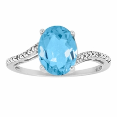 Sterling Silver Blue Topaz Ring and Diamond Accents