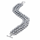 Sterling Silver Grey Shell Pearl 3 Row Bracelet
