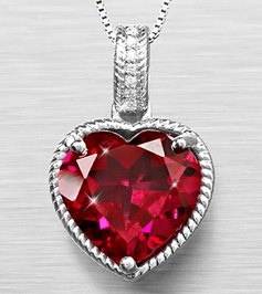 Sterling Silver Heart Shape Ruby Colored Pendant
