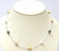 Sterling Silver Multi-Color Freshwater Pearl Necklace