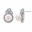 Sterling Silver Pearl Stud Earrings with Diamonds