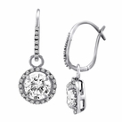 Sterling Silver Solitaire Hanging White Sapphire Earrings