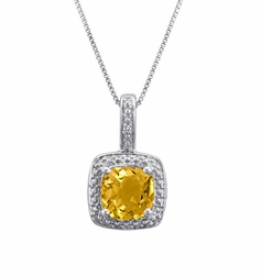 Sterling Silver Solitare Citrine and Diamond Pendant