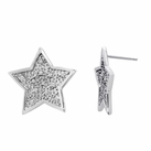 Sterling Silver  Star Earrings with Diamonds (.03 Carat Total Weight)
