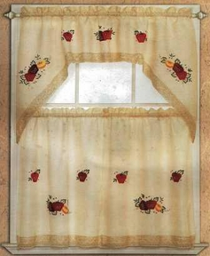 Strawberry Lace Kitchen Curtain Set (Beige)
