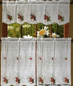 Strawberry Textured Sheer Kitchen Curtain Set