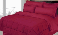 Stripe Comforter/Bed in a Bag Set (Burgundy)