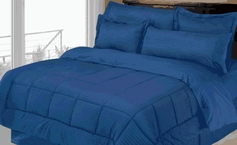 Stripe Comforter/Bed in a Bag Set (Navy Blue)