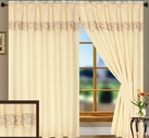 Suzie Curtain Panel with Attached Valance (Beige)