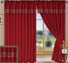 Suzie Curtain Panel with Attached Valance (Burgundy)