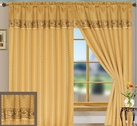 Suzie Curtain Panel with Attached Valance (Gold)
