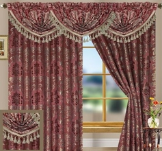 Tiffany Jacquard Curtain Set (Burgundy)