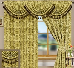 Tiffany Jacquard Curtain Set (Gold)