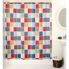 Tiles Shower Curtain with 12 Poly Resin Rings