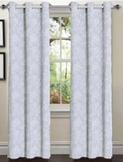 Tresil Linen Blend Jacquard Curtain  Set of 2 (Light Blue)