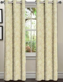 Tresil Linen Blend Jacquard Curtain  Set of 2 (Ivory)