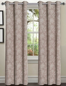 Tresil Linen Blend Jacquard Curtain  Set of 2 (Caribou Linen)